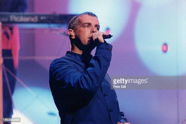 Neil Tennant of The Pet Shop Boys performs on stage during their 'Somewhere' shows at The Savoy Theatre on June 10th 1997 in London England