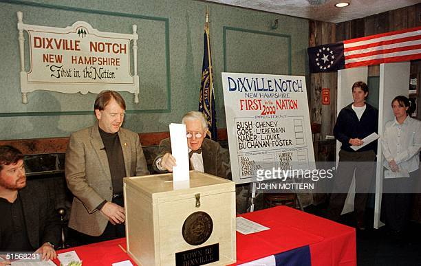 Neil Tillotson age 101 is the first voter in the US to cast the ballot in the presidential election at Midnight 07 November 2000 in Dixville Notch...