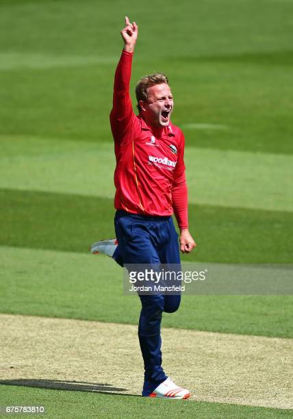 Neil Wagner of Essex celebrates dismissing Kumar Sangakkara of Surrey during the Royal London OneDay Cup match between Surrey and Essex at The Kia...