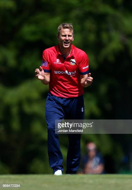 Neil Wagner of Essex celebrates dismissing Stevie Eskinazi of Middlesex during the Royal London OneDay Cup match between Middlesex and Essex at...