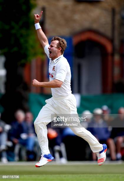 Neil Wagner of Essex celebrates dismissing v of Surrey during the Specsavers County Championship Division One match between Surrey and Essex at...
