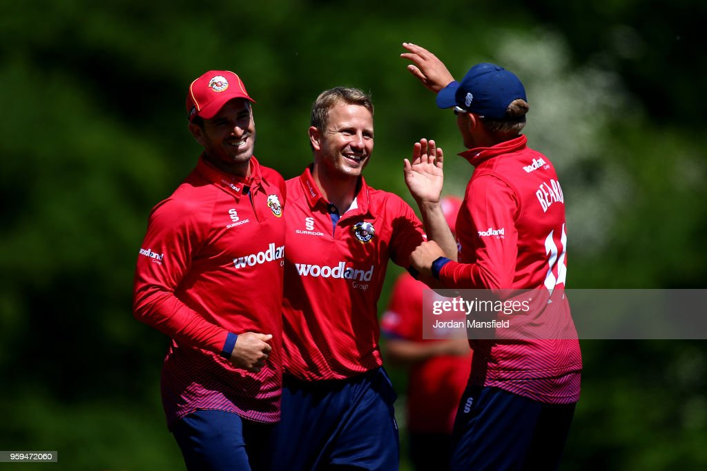 Neil Wagner of Essex celebrates with his teammates after dismissing Stevie Eskinazi of Middlesex during the Royal London One-Day Cup match between Middlesex and Essex at Radlett Cricket Club on May 17, 2018 in Radlett, England.
