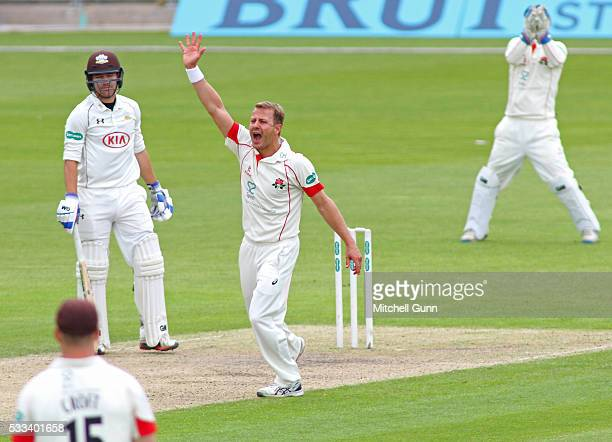 Neil Wagner of Lancashire makes an unsuccessful appeal for the wicket of Rory Burns of Surrey during the Specsavers County Championship Division One...