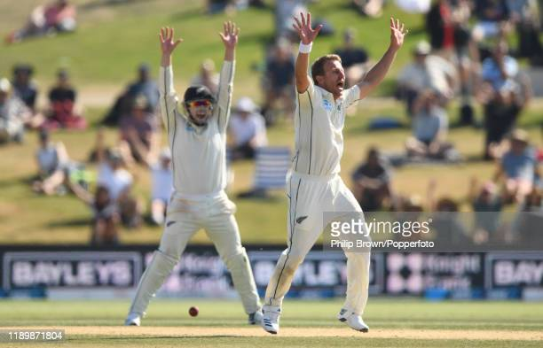 Neil Wagner of New Zealand appeals and dismisses Stuart Broad of England as New Zealand won the first Test match between New Zealand and England at...