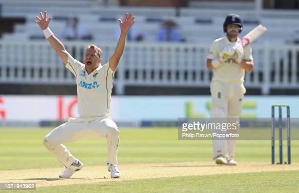 Neil Wagner of New Zealand appeals unsuccessfully for lbw against Rory Burns of England during Day 4 of the First LV= Insurance Test match between...