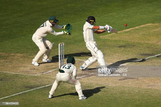 Neil Wagner of New Zealand bats during day four of the Second Test match in the series between Australia and New Zealand at Melbourne Cricket Ground...