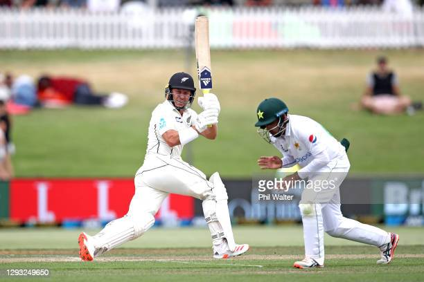 Neil Wagner of New Zealand bats during day two of the First Test match in the series between New Zealand and Pakistan at Bay Oval on December 27,...