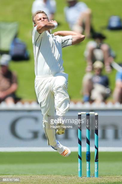 Neil Wagner of New Zealand bowls during day one of the Test match series between the New Zealand Blackcaps and the West Indies at Basin Reserve on...