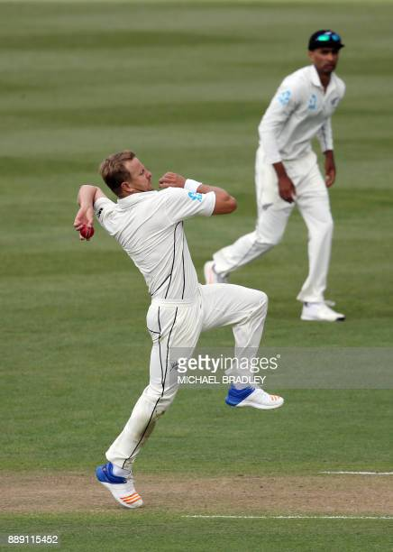 Neil Wagner of New Zealand bowls during day two of the second Test cricket match between New Zealand and the West Indies at Seddon Park in Hamilton...