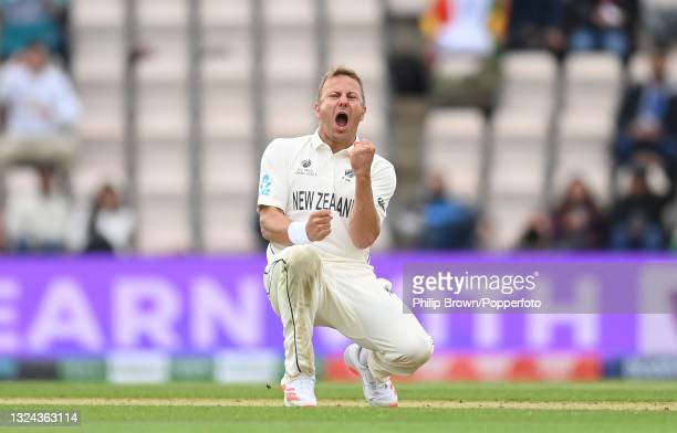 Neil Wagner of New Zealand celebrates after dismissing Shuman Gill of India during Day 2 of the ICC World Test Championship Final between India and...