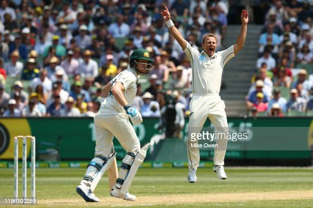 Neil Wagner of New Zealand celebrates after dismissing Steve Smith of Australia during day two of the Second Test match in the series between...