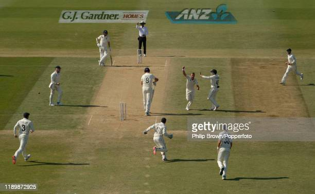 Neil Wagner of New Zealand celebrates after dismissing Stuart Broad of England as New Zealand won the first Test match between New Zealand and...