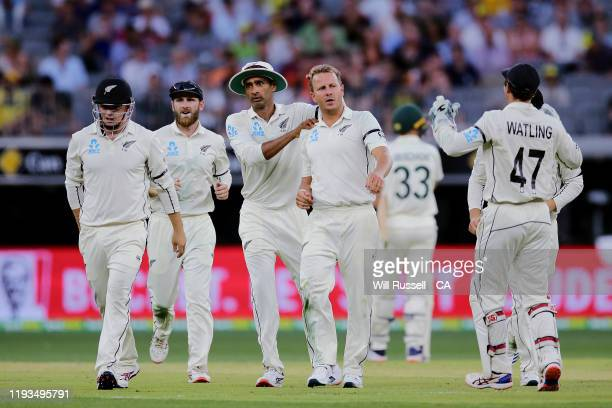 Neil Wagner of New Zealand celebrates after taking the wicket of Steve Smith of Australia during day one of the First Test match between Australia...