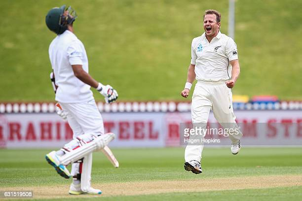 Neil Wagner of New Zealand celebrates after taking the wicket of Mahmudullah of Bangladesh during day one of the First Test match between New Zealand...