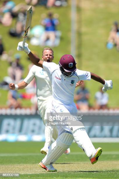 Neil Wagner of New Zealand celebrates after taking the wicket of Shimron Hetmyer of the West Indies during day one of the Test match series between...