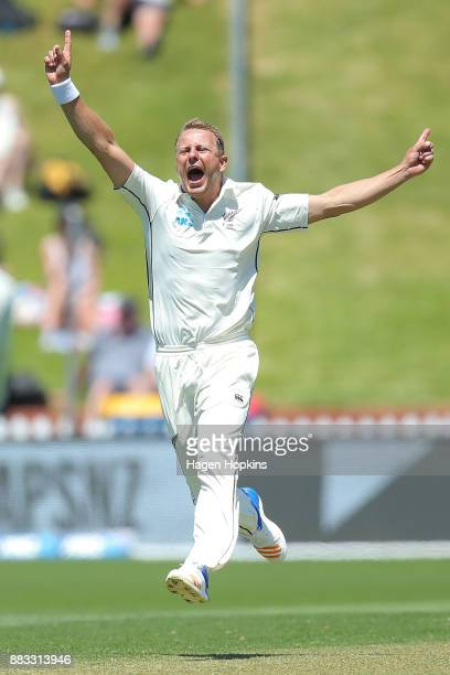 Neil Wagner of New Zealand celebrates after taking the wicket of Shai Hope of the West Indies during day one of the Test match series between the New...