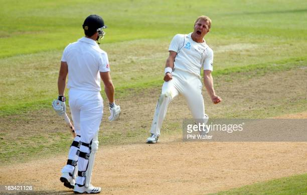 Neil Wagner of New Zealand celebrates his LBW of Nick Compton of England during day five of the First Test match between New Zealand and England at...