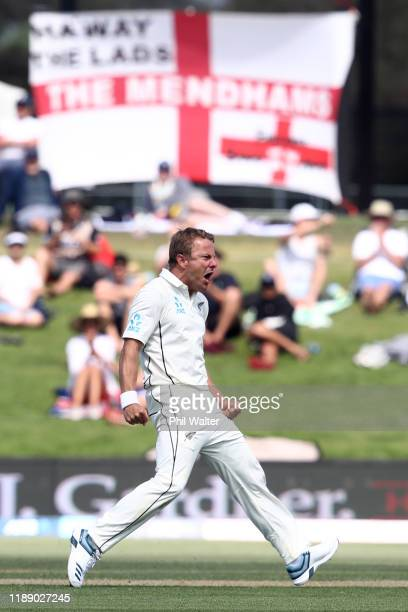 Neil Wagner of New Zealand celebrates his wicket of Joe Root of England during day one of the first Test match between New Zealand and England at Bay...