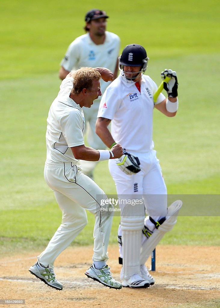 Neil Wagner of New Zealand celebrates his wicket of Kevin Pietersen of England during day five of the First Test match between New Zealand and England at University Oval on March 10, 2013 in Dunedin, New Zealand.