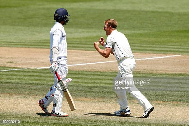 Neil Wagner of New Zealand celebrates his wicket of Kithuruwan Vithanage of Sri Lanka during day three of the Second Test match between New Zealand...