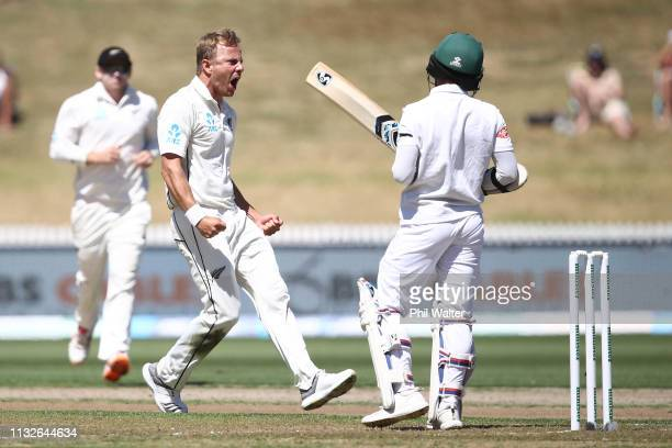 Neil Wagner of New Zealand celebrates his wicket of Mominul Haque of Bangladesh during day one of the First Test match in the series between New...
