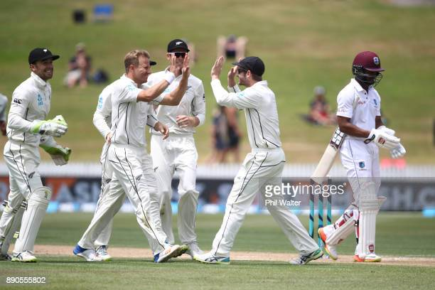 Neil Wagner of New Zealand celebrates his wicket of Shai Hope of the West Indies during day four of the Second Test Match between New Zealand and the...