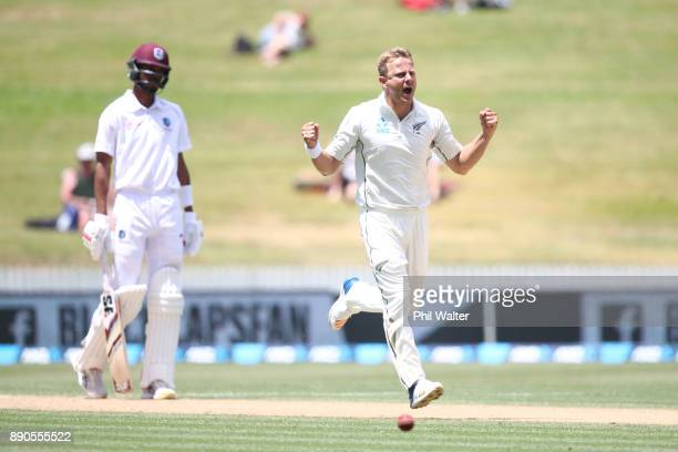Neil Wagner of New Zealand celebrates his wicket of Shane Dowrich of the West Indies during day four of the Second Test Match between New Zealand and...