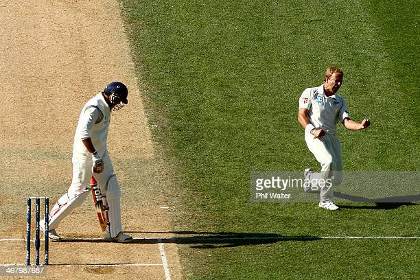 Neil Wagner of New Zealand celebrates his wicket of Zaheer Khan of India during day four of the First Test match between New Zealand and India at...