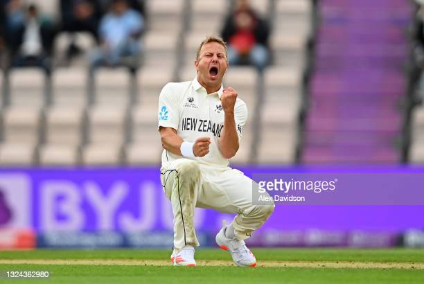 Neil Wagner of New Zealand celebrates taking the wicket of Shubman Gill of India uring Day 2 of the ICC World Test Championship Final between India...
