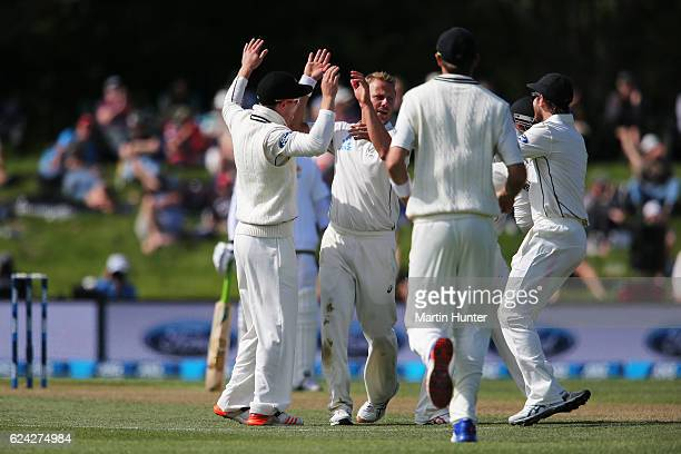 Neil Wagner of New Zealand celebrates the wicket of Babar Azam of Pakistan during day three of the First Test between New Zealand and Pakistan at...