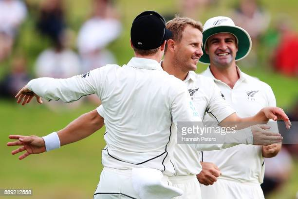 Neil Wagner of New Zealand celebrates the wicket of Shane Dowrich of the west Indies during day two of the Second Test Match between New Zealand and...