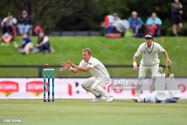 Neil Wagner of New Zealand fields the ball during day one of the Second Test match in the series between New Zealand and Sri Lanka at Hagley Oval on...