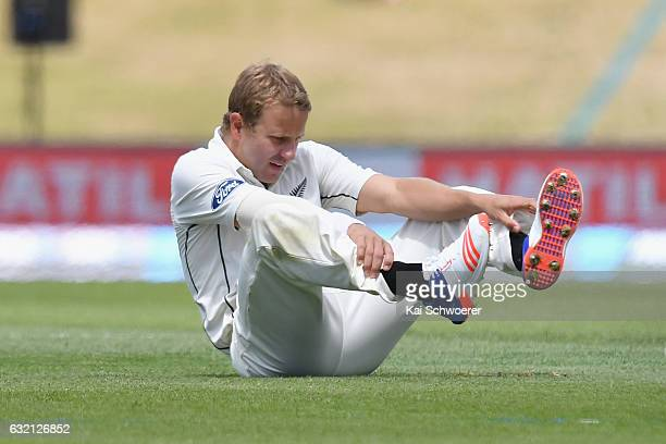 Neil Wagner of New Zealand reacting during day one of the Second Test match between New Zealand and Bangladesh at Hagley Oval on January 20 2017 in...