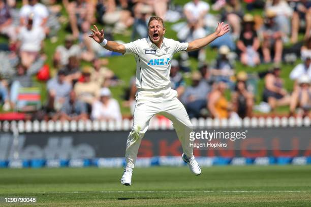 Neil Wagner of New Zealand reacts after bowling a delivery during day two of the second test match in the series between New Zealand and the West...