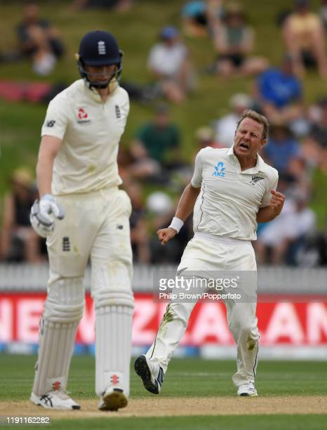 Neil Wagner of New Zealand reacts after dismissing Zac Crawley of England during day 3 of the second Test match between New Zealand and England at...
