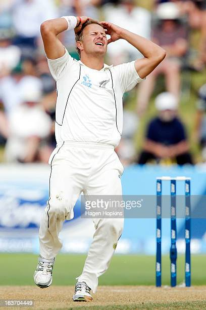 Neil Wagner of New Zealand shows his disappointment while bowling during day two of the second Test match between New Zealand and England at Basin...