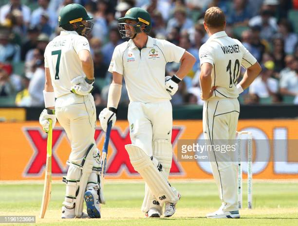 Neil Wagner of New Zealand to Tim Paine of Australia and Travis Head of Australia which was overturned by the Third Umpire during day two of the...