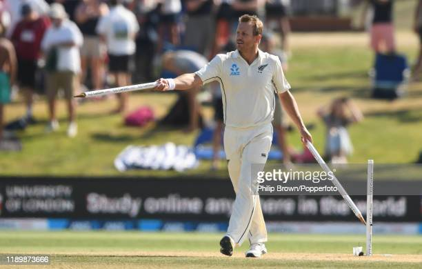 Neil Wagner of New Zealand with two stumps after his team won the first Test match between New Zealand and England at Bay Oval on November 25, 2019...