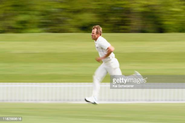 Neil Wagner of Northern Districts runs in to bowl during the Plunket Shield match between Canterbury and Northern Districts at Hagley Oval on October...