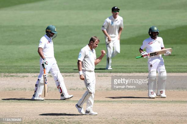 Neil Wagner of the Black Caps celebrates the wicket of Mehidy Hasan of Bangladesh during day four of the First Test match in the series between New...