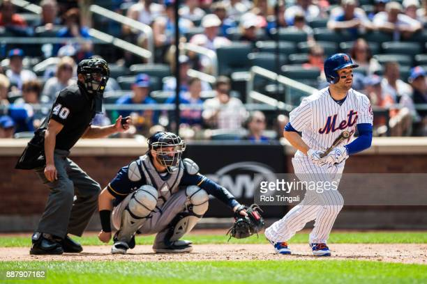 Neil Walker of the New York Mets bats during the game against the Milwaukee Brewers at Citi Field on Thursday June 1 2017 in the Queens borough of...