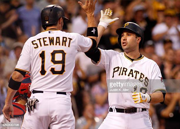 Neil Walker of the Pittsburgh Pirates celebrates with Chris Stewart after hitting a two run home run in the fourth inning during the game against the...