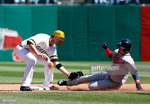 Neil Walker of the Pittsburgh Pirates tags out Ramiro Pena of the Atlanta Braves stealing during the game on April 21 2013 at PNC Park in Pittsburgh...