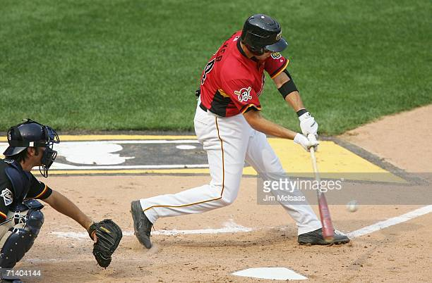 Neil Walker of the U.S.A. Team bats against the World Team during the XM Satellite Radio All-Star Futures Game at PNC Park on July 9, 2006 in...