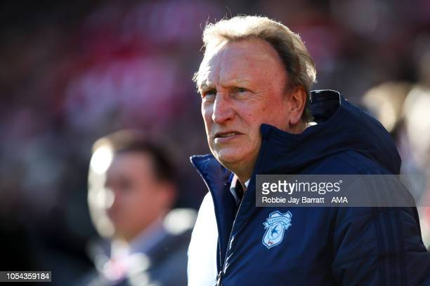 Neil Warnock head coach / manager of Cardiff City during the Premier League match between Liverpool FC and Cardiff City at Anfield on October 27 2018...