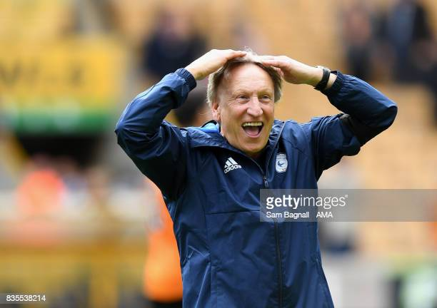 Neil Warnock manager / head coach of Cardiff City celebrates at full time during the Sky Bet Championship match between Wolverhampton and Cardiff...