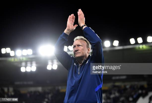 Neil Warnock manager of Cardiff acknowledges the crowd after the Sky Bet Championship match between Derby County and Cardiff City at Pride Park...