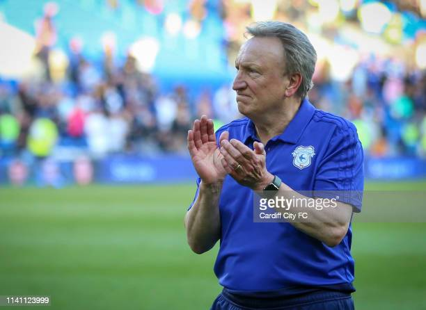 Neil Warnock, Manager of Cardiff City after the Premier League match between Cardiff City and Crystal Palace at Cardiff City Stadium on May 4, 2019...