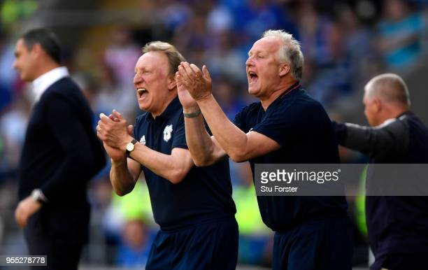 Neil Warnock Manager of Cardiff City and Kevin Blackwell Cardiff City assistant manager give their team instructions during the Sky Bet Championship...