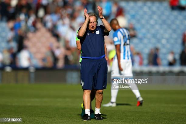 Neil Warnock Manager of Cardiff City applauds fans after the Premier League match between Huddersfield Town and Cardiff City at John Smith's Stadium...